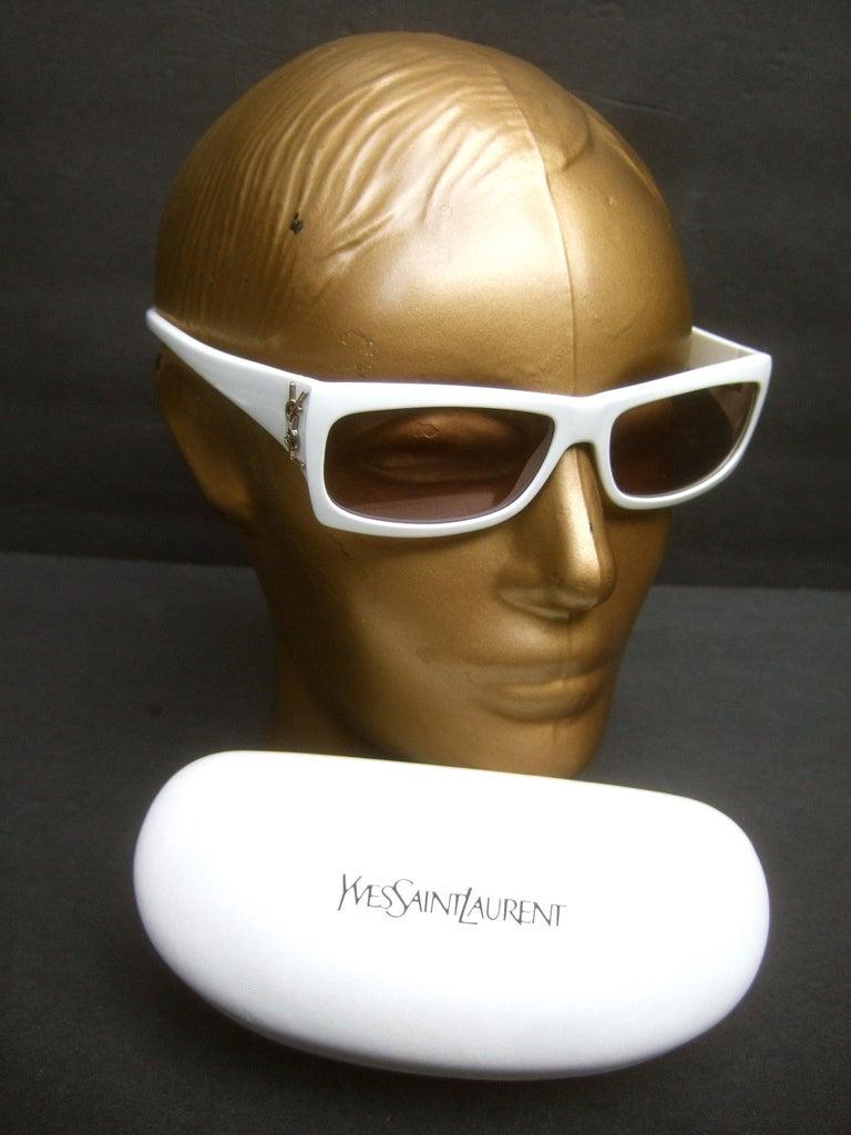 Gray Yves Saint Laurent Italian White Plastic Frame Sunglasses in YSL Case c 1990s For Sale