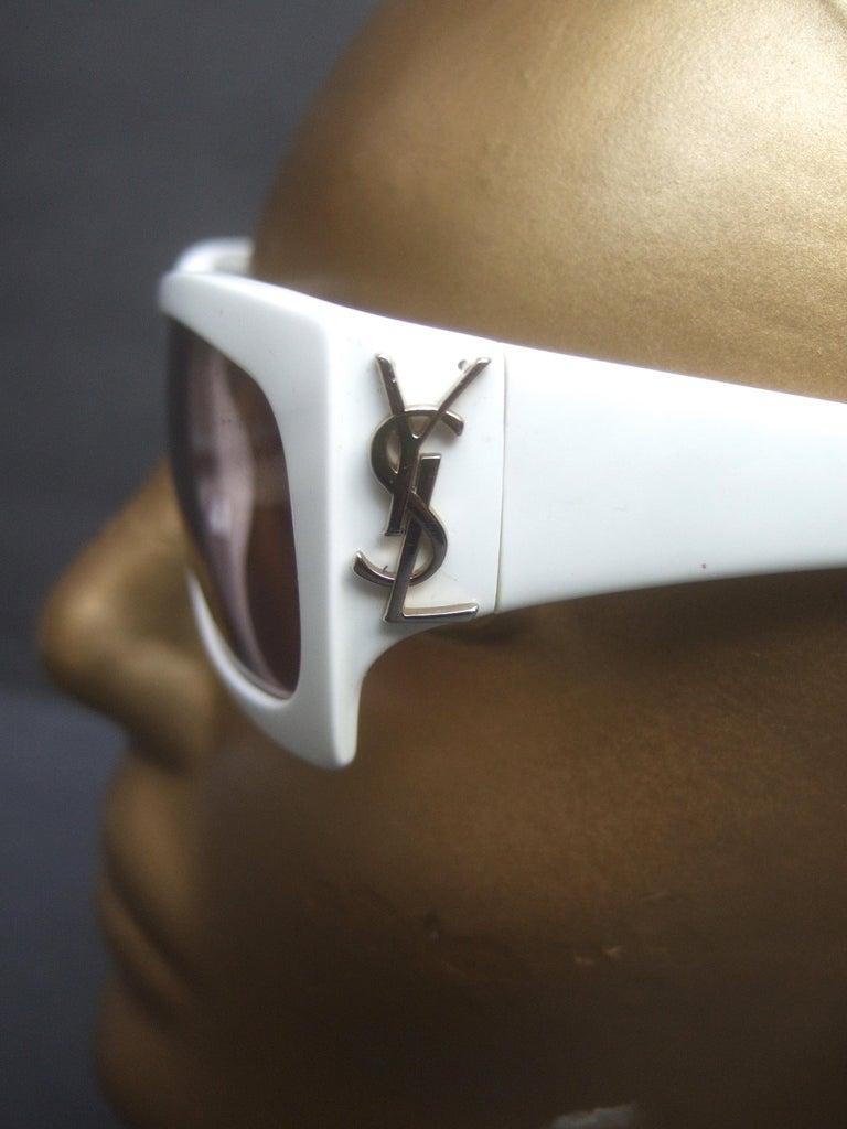 Yves Saint Laurent Italian White Plastic Frame Sunglasses in YSL Case c 1990s For Sale 1