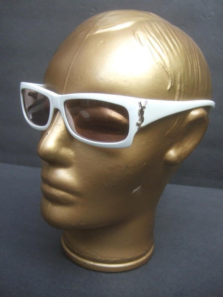 Yves Saint Laurent Italian White Plastic Frame Sunglasses in YSL Case c 1990s For Sale 2