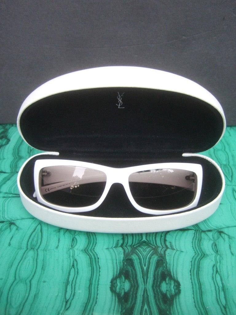 Yves Saint Laurent Italian White Plastic Frame Sunglasses in YSL Case c 1990s For Sale 4