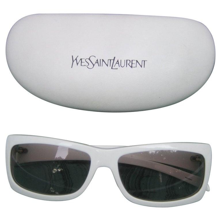 Yves Saint Laurent Italian White Plastic Frame Sunglasses in YSL Case c 1990s For Sale