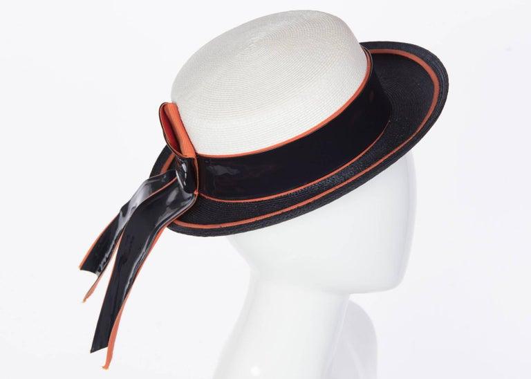 White 1960s Yves Saint Laurent Ivory and Navy Derby Hat Patent Leather  Orange Hatband For Sale 96553033499f
