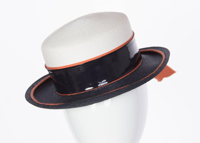 fce0416588 1960s Yves Saint Laurent Ivory and Navy Derby Hat Patent Leather Orange  Hatband In Excellent Condition