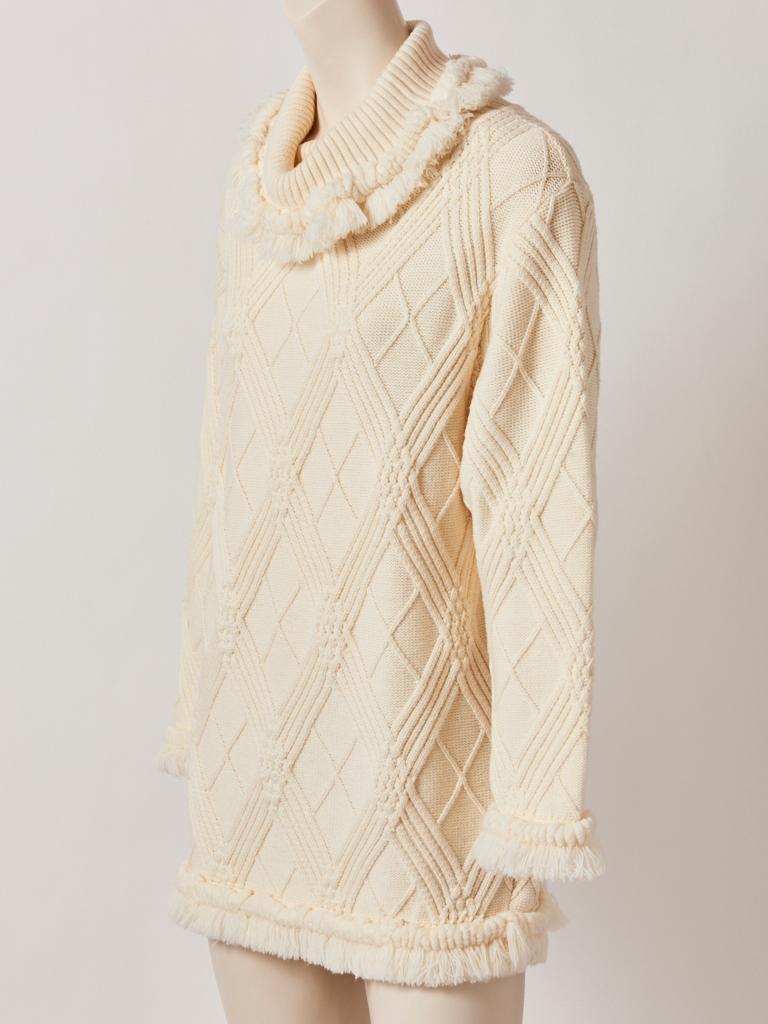 Beige Yves Saint Laurent Ivory Fringed Tunic For Sale