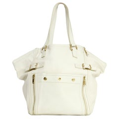 Yves Saint Laurent Ivory Leather Large Downtown Tote Bag rt $1,795