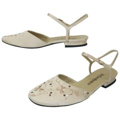Yves Saint Laurent Ivory Satin Embroidered Shoes Sz 6