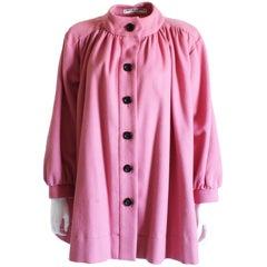 Yves Saint Laurent Jacket Swing Coat Pink Wool Vintage Size 34