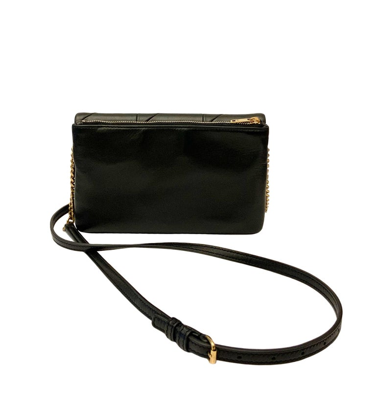 Women's or Men's Yves Saint Laurent Jamie WOC Wallet on Chain Black Bag For Sale