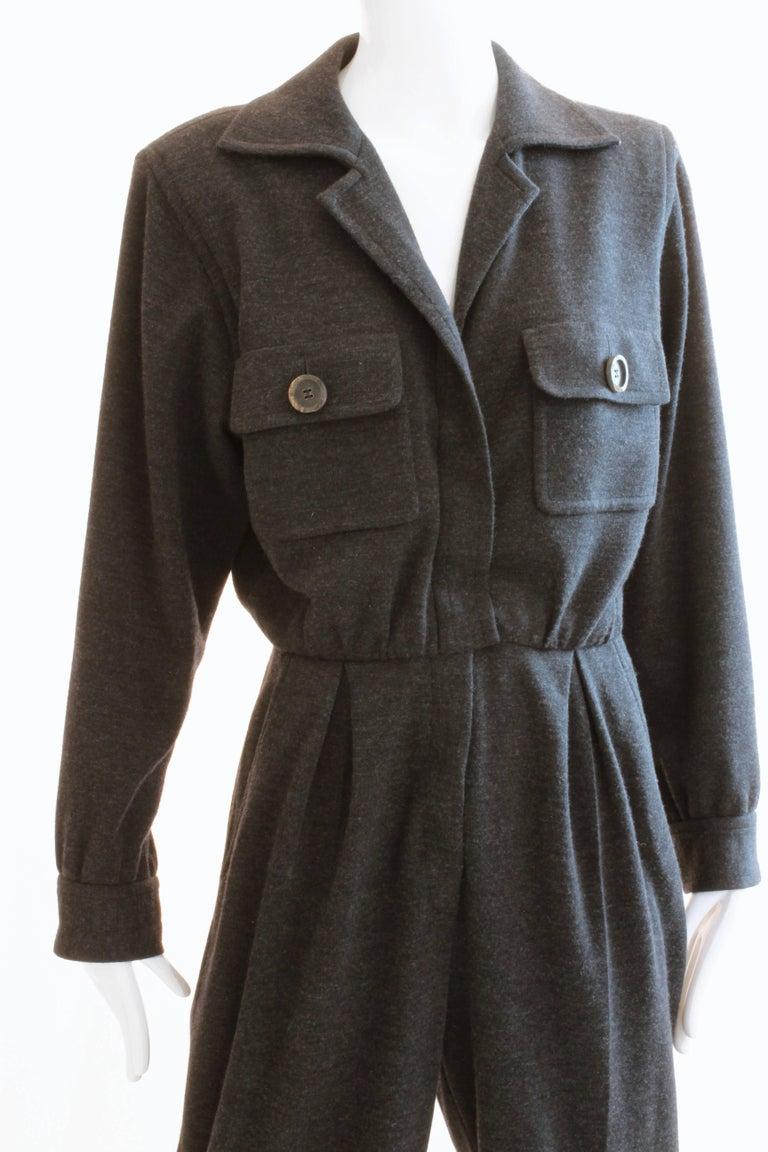 Yves Saint Laurent Jumpsuit Patch Pocket Gray Wool 90s YSL Rive Gauche Sz 40 For Sale 1