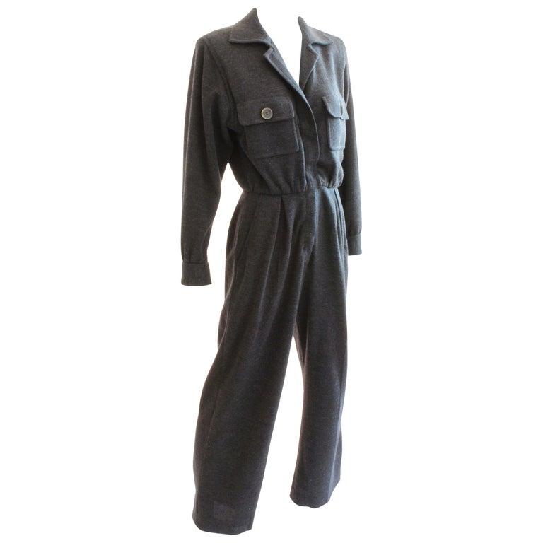 Yves Saint Laurent Jumpsuit Patch Pocket Gray Wool 90s YSL Rive Gauche Sz 40 For Sale