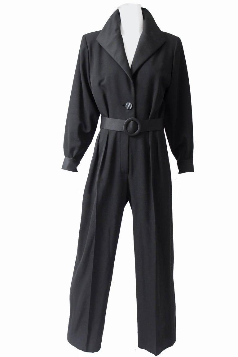 Yves Saint Laurent Jumpsuit YSL Rive Gauche Black Tuxedo Le Smoking Sz 40 In New Condition For Sale In Port Saint Lucie, FL