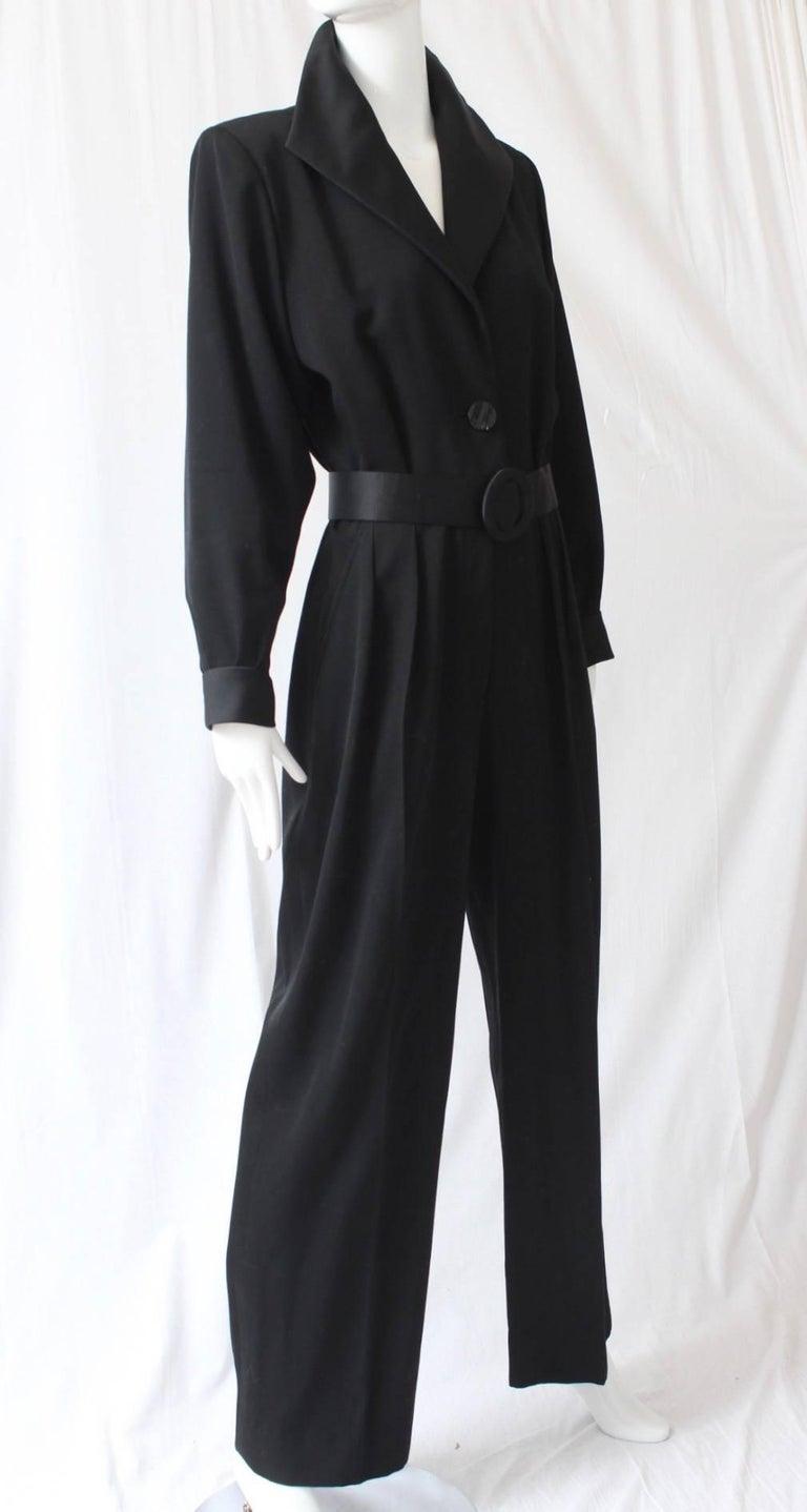 Women's Yves Saint Laurent Jumpsuit YSL Rive Gauche Black Tuxedo Le Smoking Sz 40 For Sale