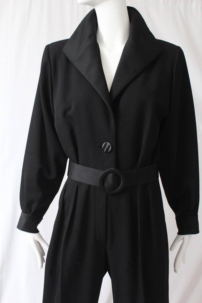 Yves Saint Laurent Jumpsuit YSL Rive Gauche Black Tuxedo Le Smoking Sz 40 For Sale 1
