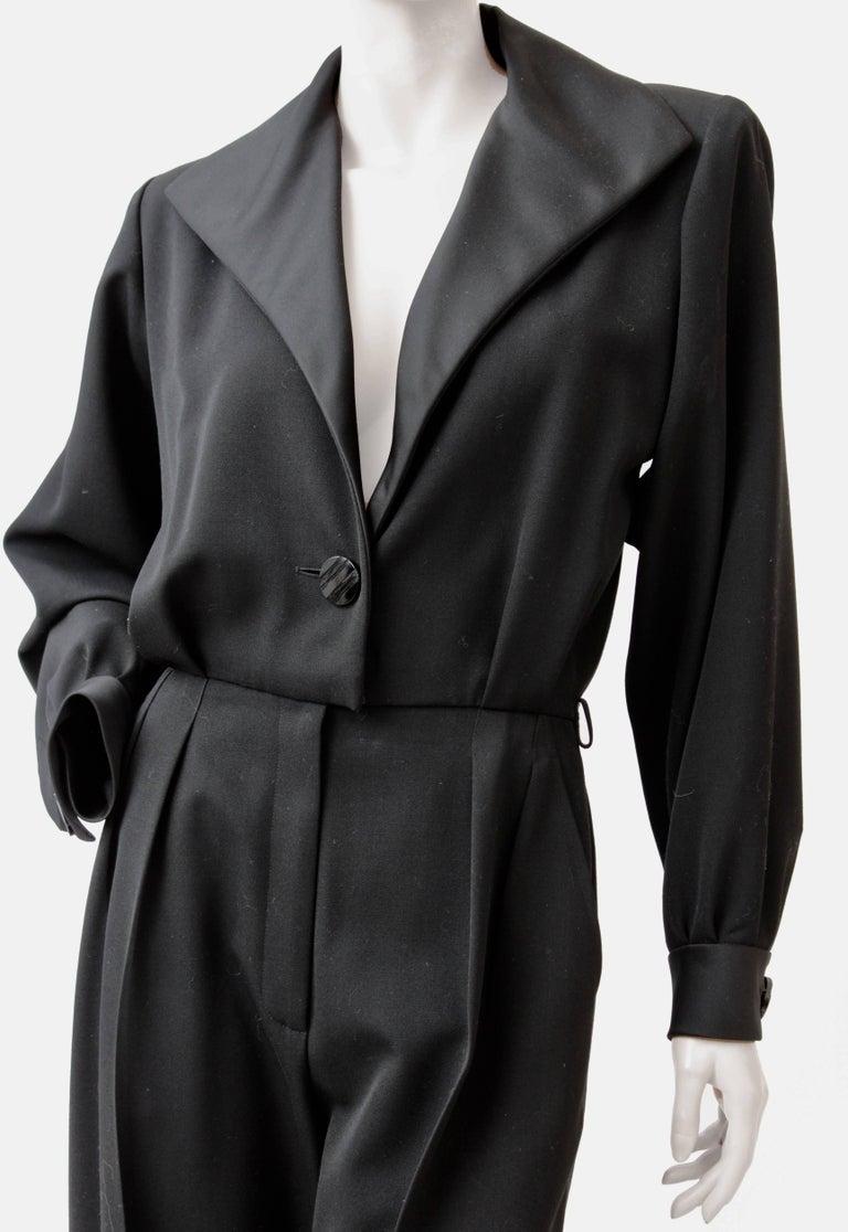 Yves Saint Laurent Jumpsuit YSL Rive Gauche Black Tuxedo Le Smoking Sz 40 For Sale 2
