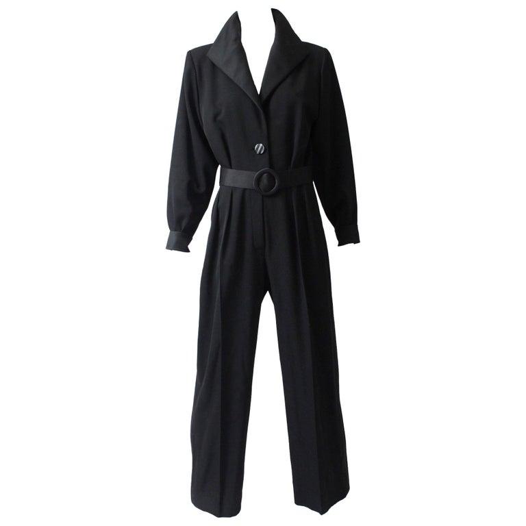 Yves Saint Laurent Jumpsuit YSL Rive Gauche Black Tuxedo Le Smoking Sz 40 For Sale