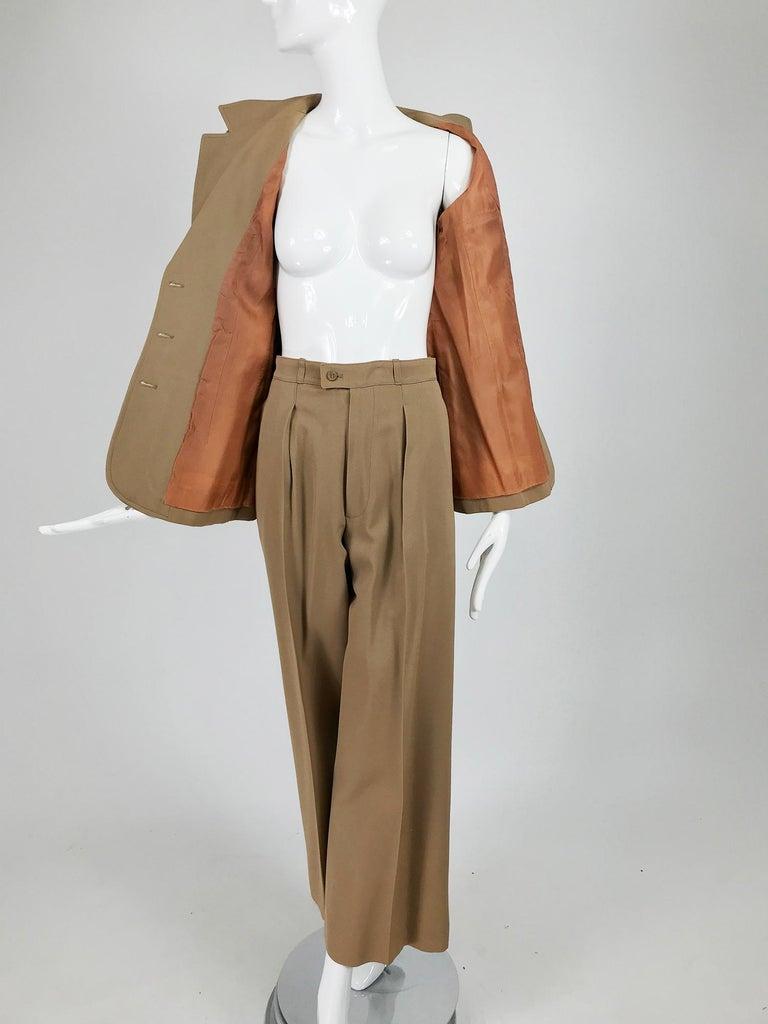 Yves Saint Laurent Khaki Tan Wool Twill Patch Pocket Pant Suit 1970s For Sale 6