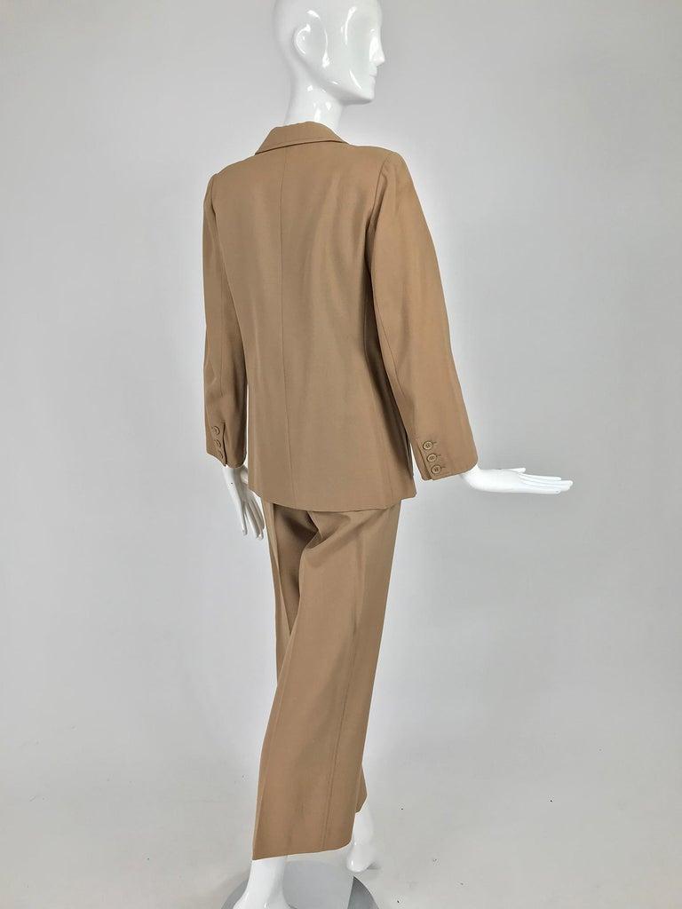 Women's Yves Saint Laurent Khaki Tan Wool Twill Patch Pocket Pant Suit 1970s For Sale