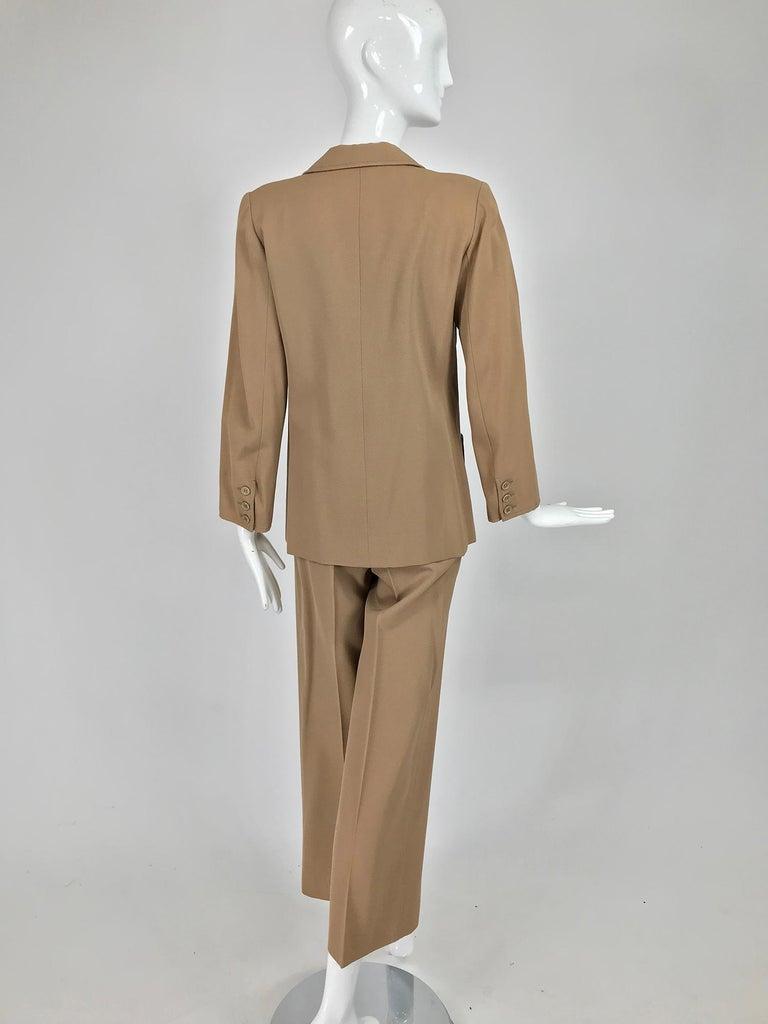 Yves Saint Laurent Khaki Tan Wool Twill Patch Pocket Pant Suit 1970s For Sale 1