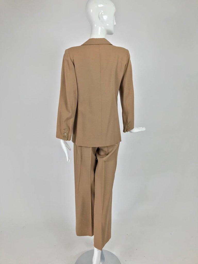 Yves Saint Laurent Khaki Tan Wool Twill Patch Pocket Pant Suit 1970s For Sale 2