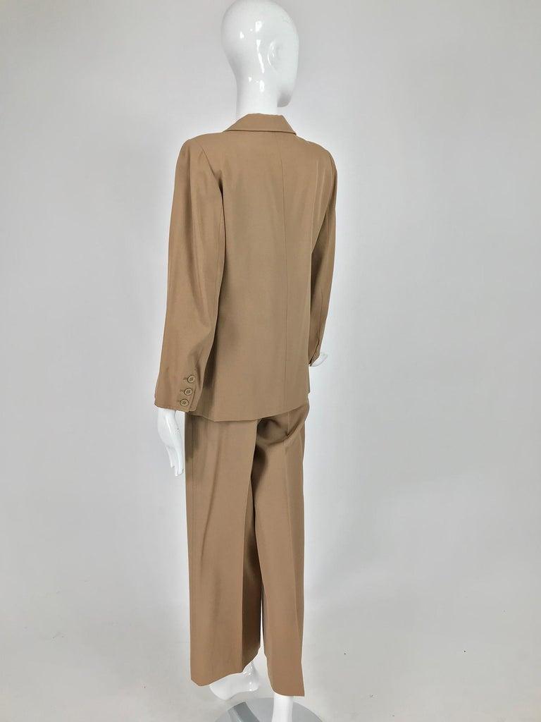 Yves Saint Laurent Khaki Tan Wool Twill Patch Pocket Pant Suit 1970s For Sale 3