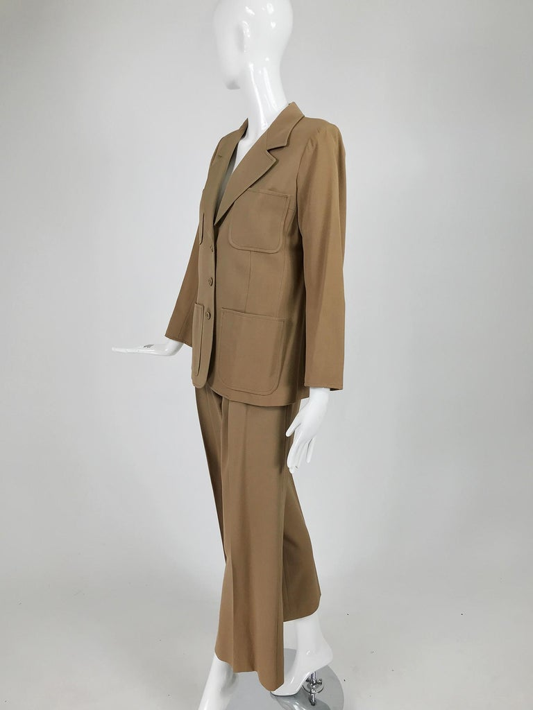 Yves Saint Laurent Khaki Tan Wool Twill Patch Pocket Pant Suit 1970s For Sale 4
