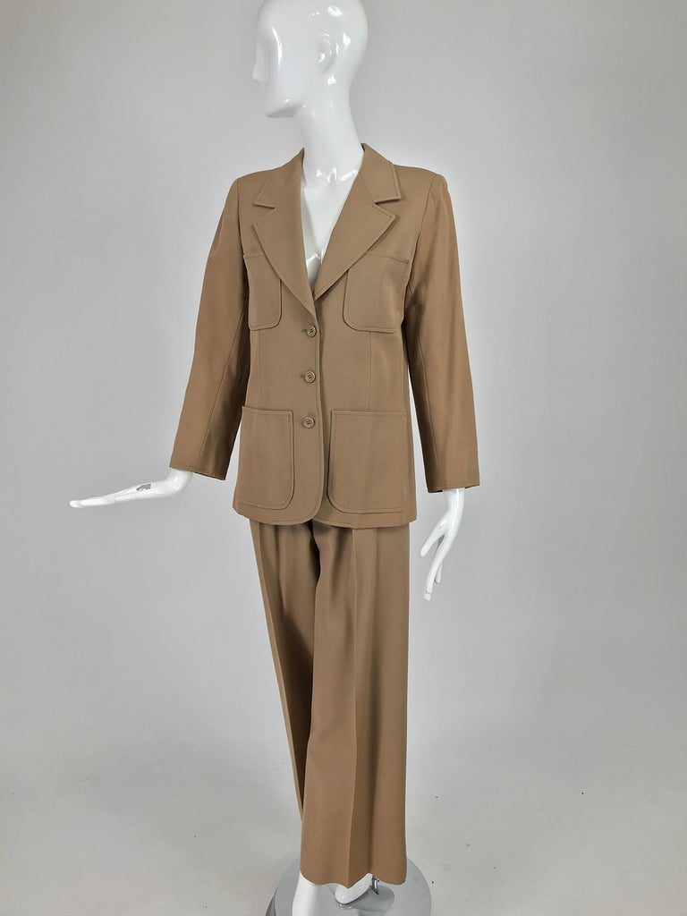 Yves Saint Laurent Khaki Tan Wool Twill Patch Pocket Pant Suit 1970s For Sale 5