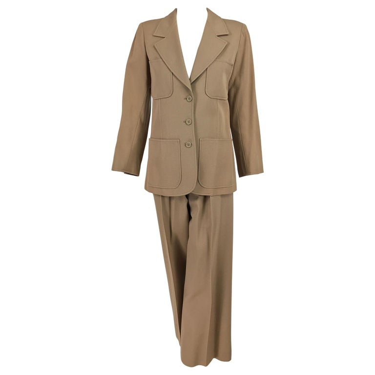 Yves Saint Laurent Khaki Tan Wool Twill Patch Pocket Pant Suit 1970s For Sale