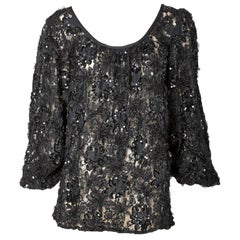 Yves Saint Laurent Lace and Sequined Peasant Top