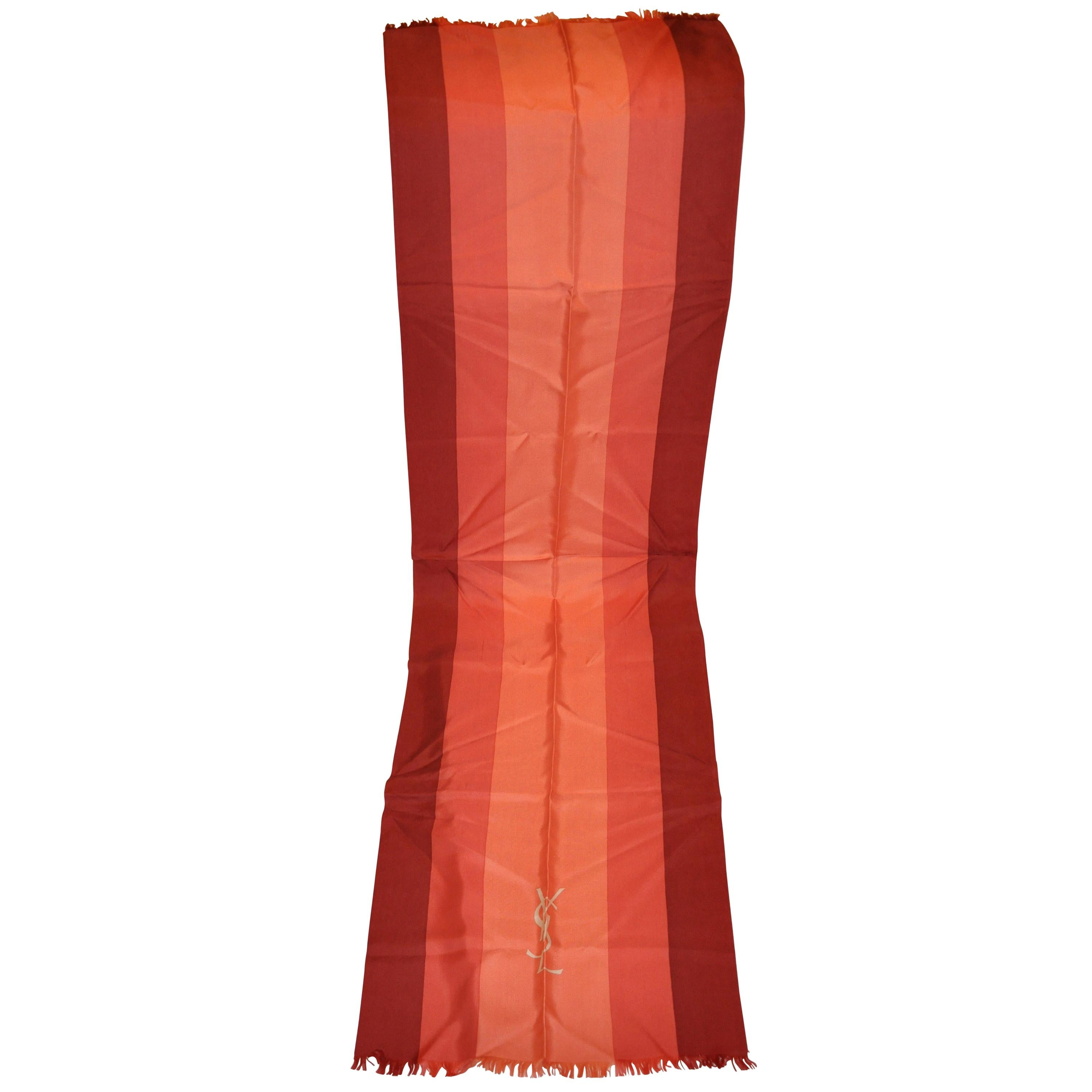 """Yves Saint Laurent Large Iconic """"Shades of Coral"""" Silk Fringed Scarf"""