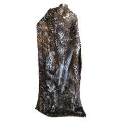 Yves Saint Laurent Large Leopard Print Silk Shawl