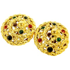 Yves Saint Laurent Large Round Glass Cabochon Gold Rope Detail Earrings 1970s
