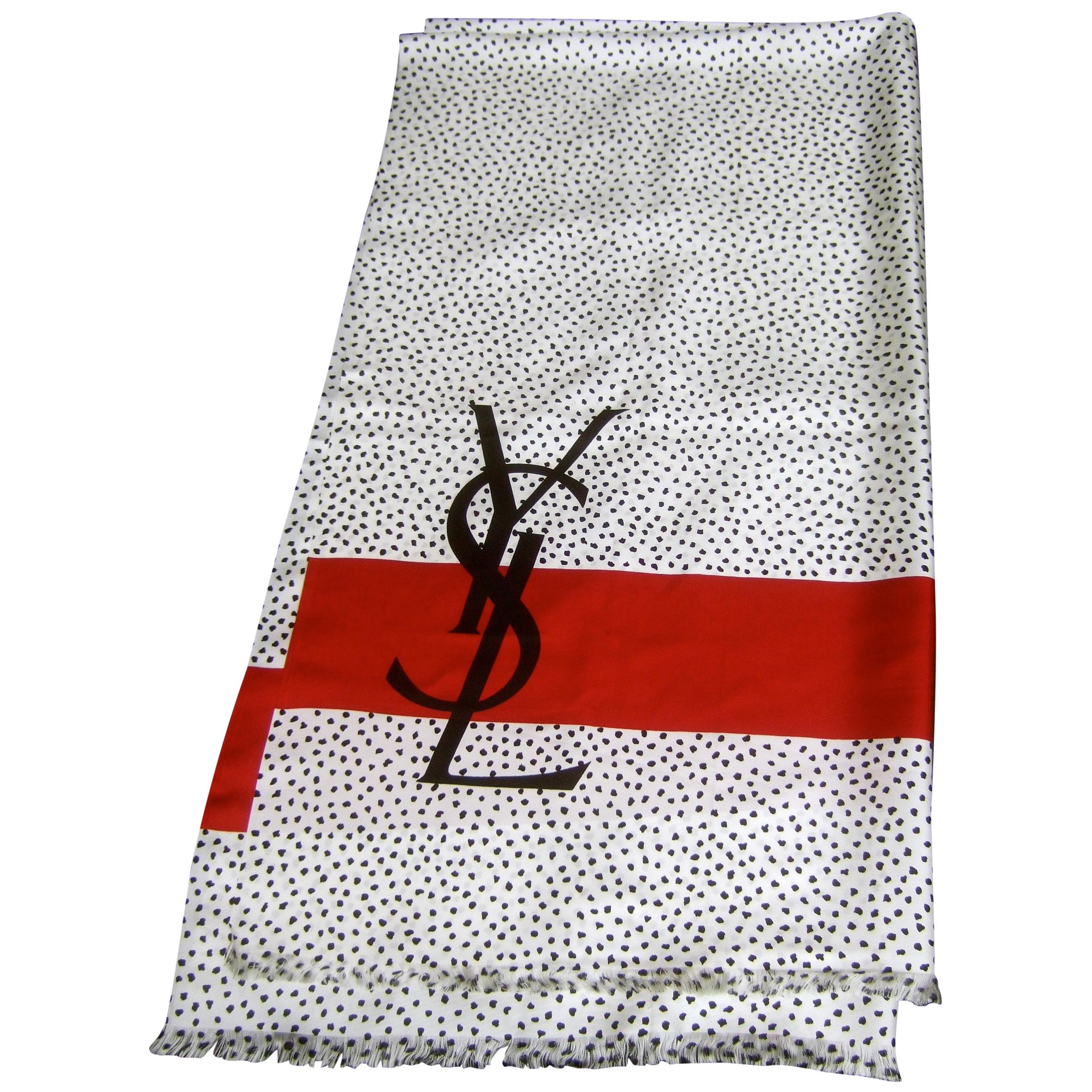 Yves Saint Laurent Large Scale Silk Shawl Scarf 69.5 x 36.5 in c 1990s