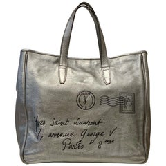Yves Saint Laurent Large Y MAIL Silver Metallic Tote Bag