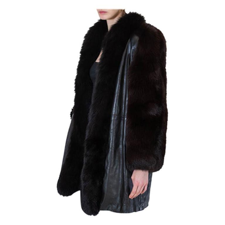 Yves Saint Laurent Leather and Fox Fur Coat 1980s