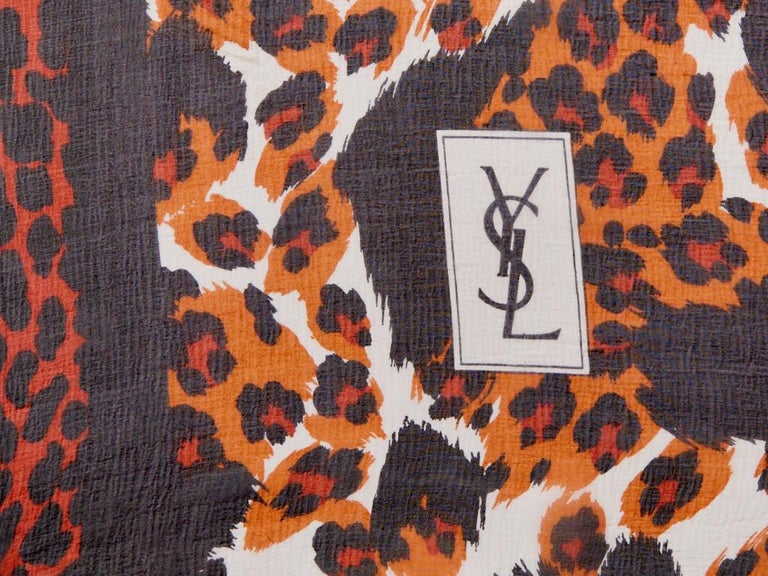 Yves Saint Laurent Leopard Print Chiffon Scarf In Good Condition In New York, NY