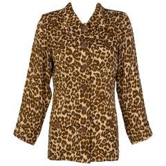 Yves Saint Laurent Leopard print Silk Damask Safari Top