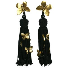 "Yves Saint Laurent ""Les Chinoises"" Haute Couture Long Earclips"