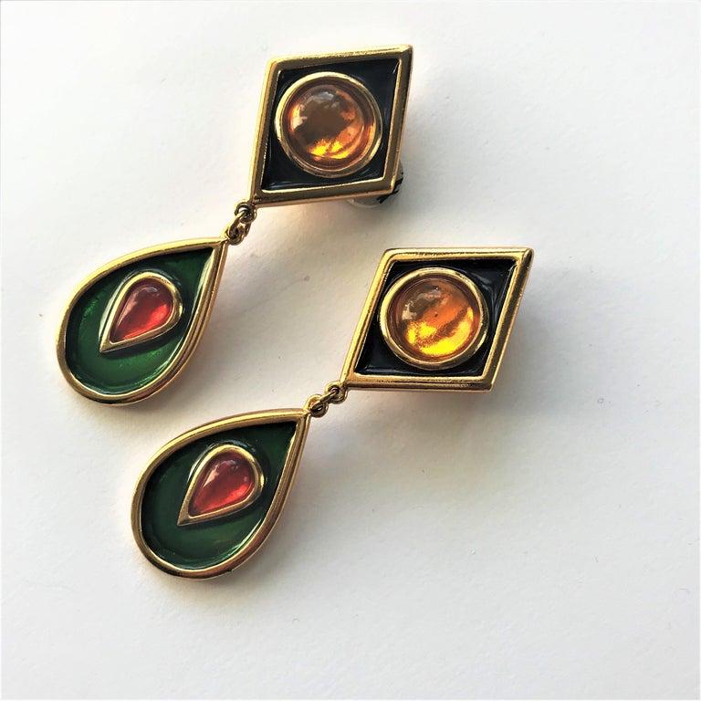 Artisan Yves Saint Laurent long ear clips gold plated  1980s  For Sale