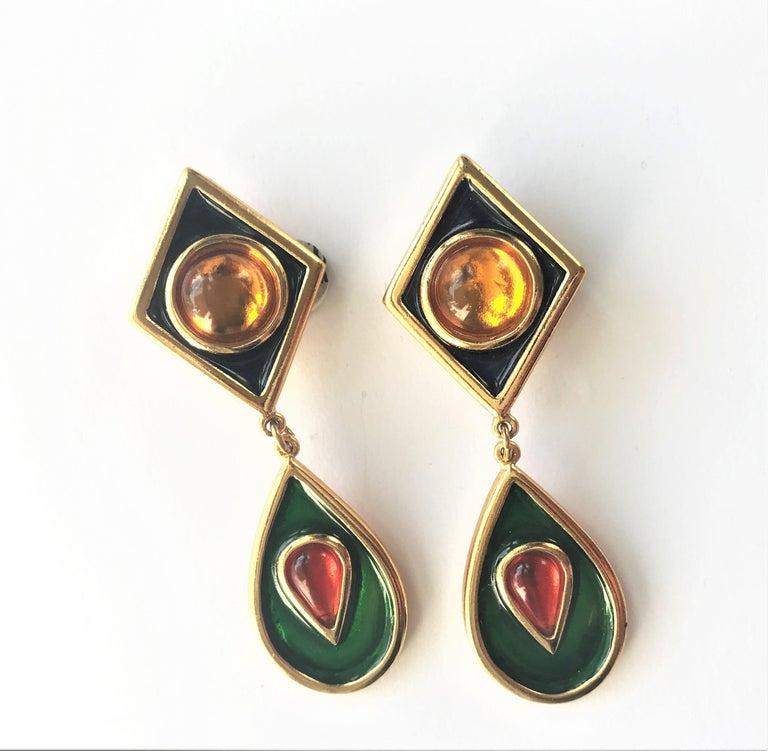 Women's Yves Saint Laurent long ear clips gold plated  1980s  For Sale