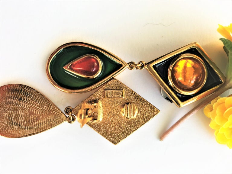 Yves Saint Laurent long ear clips gold plated  1980s  For Sale 1