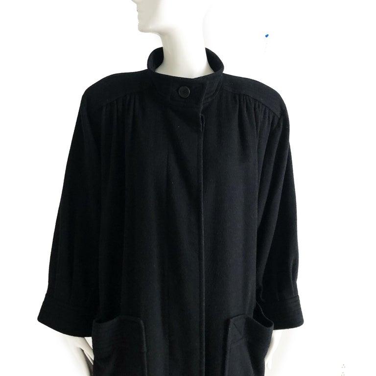 Black Yves Saint Laurent Long Wool Coat YSL Vintage 70s Sz38 For Sale