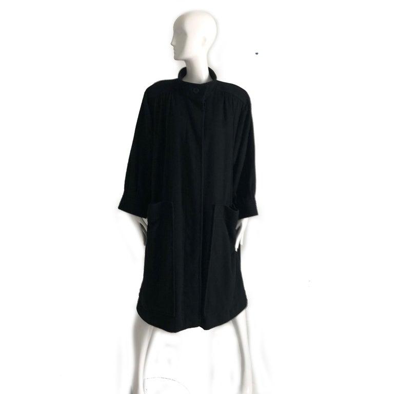 Yves Saint Laurent Long Wool Coat YSL Vintage 70s Sz38 In Good Condition For Sale In Port Saint Lucie, FL