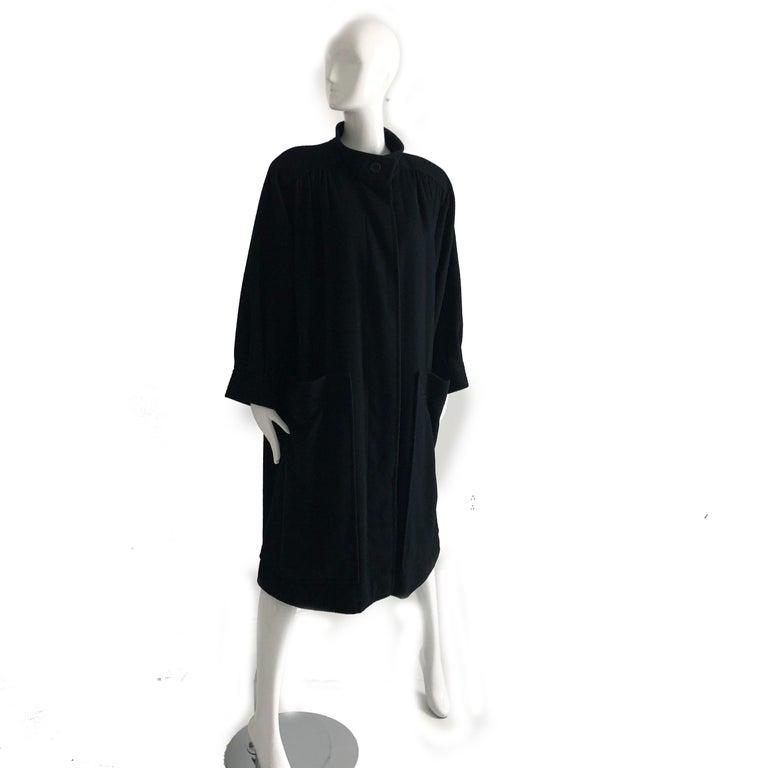 Women's Yves Saint Laurent Long Wool Coat YSL Vintage 70s Sz38 For Sale