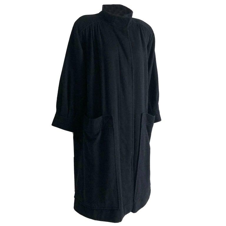 Yves Saint Laurent Long Wool Coat YSL Vintage 70s Sz38 For Sale