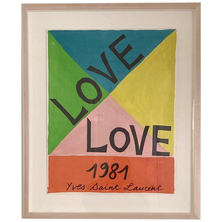 "Yves Saint Laurent ""Love"" Lithograph Poster, 1981"