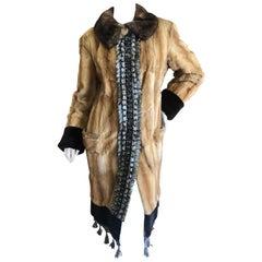 Yves Saint Laurent Luxurious Embellished Chinchilla Fur Coat