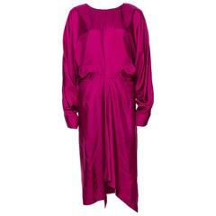 Yves Saint Laurent Magenta Silk Draped Dress M