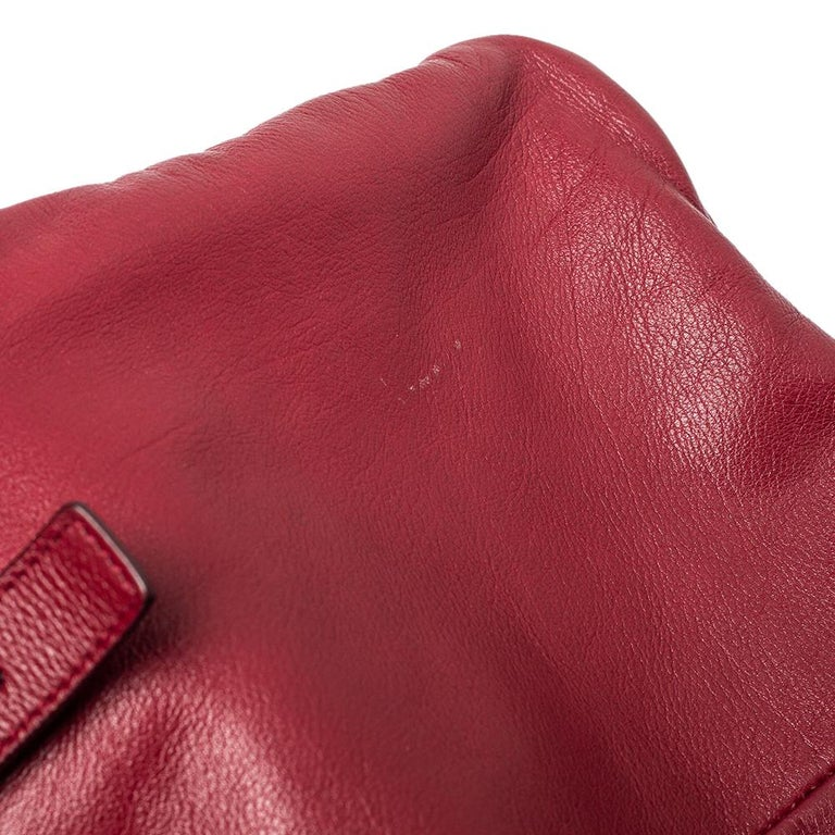 Yves Saint Laurent Maroon Leather Small Kahala Drawstring Tote For Sale 5