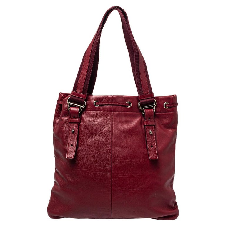 Brown Yves Saint Laurent Maroon Leather Small Kahala Drawstring Tote For Sale