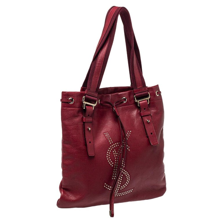 Women's Yves Saint Laurent Maroon Leather Small Kahala Drawstring Tote For Sale